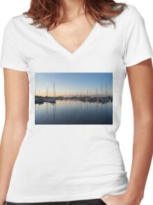 Pink and Blue Serenity - Soft Dawn at the Marina Women's Fitted V-Neck T-Shirt