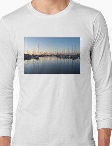 Pink and Blue Serenity - Soft Dawn at the Marina Long Sleeve T-Shirt