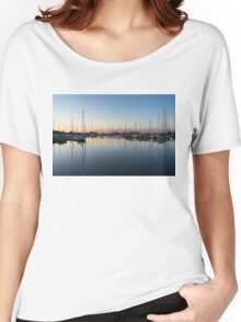 Pink and Blue Serenity - Soft Dawn at the Marina Women's Relaxed Fit T-Shirt