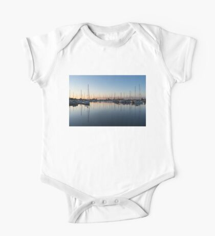 Pink and Blue Serenity - Soft Dawn at the Marina One Piece - Short Sleeve