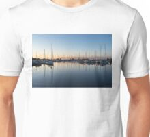 Pink and Blue Serenity - Soft Dawn at the Marina Unisex T-Shirt