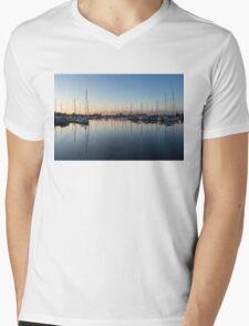 Pink and Blue Serenity - Soft Dawn at the Marina Mens V-Neck T-Shirt