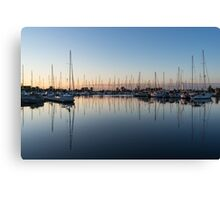Pink and Blue Serenity - Soft Dawn at the Marina Canvas Print