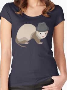 Ferret Wearing a Trilby Women's Fitted Scoop T-Shirt