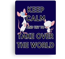 Keep Calm and Try to Take Over the World Canvas Print