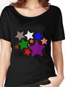 Black Rainbow Stars Women's Relaxed Fit T-Shirt