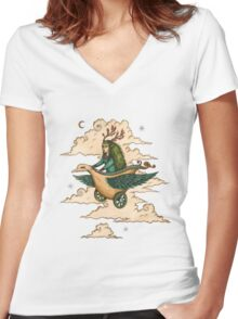 Away we fly... Women's Fitted V-Neck T-Shirt