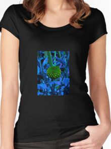 The green ball flower Women's Fitted Scoop T-Shirt