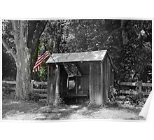 Shelter with Flag Poster
