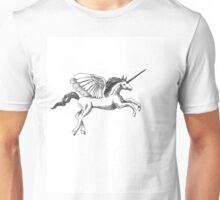 Springendes Einhorn in Schwarz Weiß Unisex T-Shirt