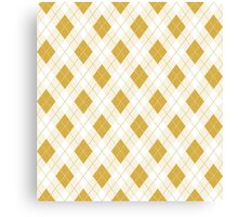 Spicy Mustard Yellow and White Argyle Check Plaid Canvas Print
