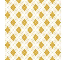 Spicy Mustard Yellow and White Argyle Check Plaid Photographic Print