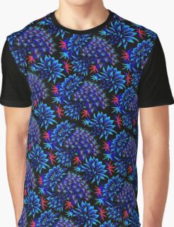 Cactus Floral - Bright Blue/Red Graphic T-Shirt