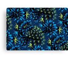Cactus Floral - Blue/Black/Green Canvas Print