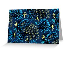 Cactus Floral - Blue/Black/Green Greeting Card