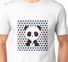 Panda Bear on Red White Blue Stars Unisex T-Shirt