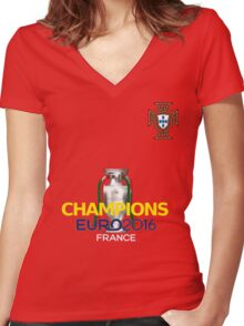 EURO 2016 CHAMPIONS - Portugal Football Team Women's Fitted V-Neck T-Shirt