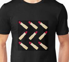 Red Lipstick on Black Unisex T-Shirt