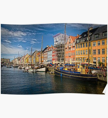 Sunny day in Nyhavn, denmark  Poster