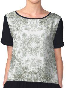 White ornamental textiles-Venus XIII - Floral expansion Chiffon Top