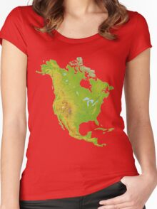 North America Physical Map Women's Fitted Scoop T-Shirt
