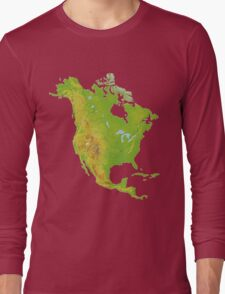 North America Physical Map Long Sleeve T-Shirt