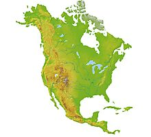 North America Physical Map Photographic Print