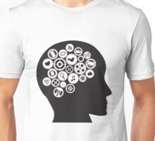 Machine Gears inside human head with Social Media Symbols Unisex T-Shirt