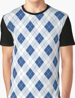 Delphinium Blue and White Argyle Check Plaid Graphic T-Shirt