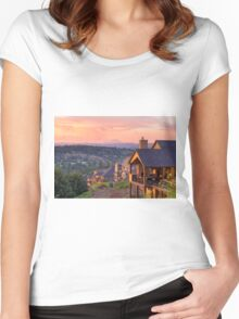 Sunset View from Deck of Luxury Homes Women's Fitted Scoop T-Shirt