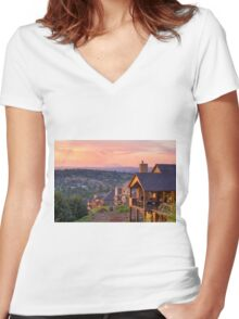 Sunset View from Deck of Luxury Homes Women's Fitted V-Neck T-Shirt
