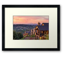 Sunset View from Deck of Luxury Homes Framed Print