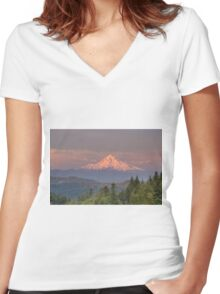 Mount Hood Alpenglow Sunset Women's Fitted V-Neck T-Shirt