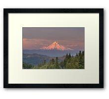Mount Hood Alpenglow Sunset Framed Print