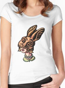 Woman Wearing Chocolate Rabbit Head Women's Fitted Scoop T-Shirt