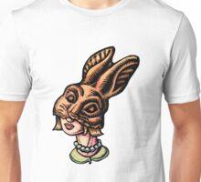 Woman Wearing Chocolate Rabbit Head Unisex T-Shirt