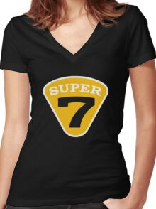 SUPER 7 Badge Cutout Number Women's Fitted V-Neck T-Shirt