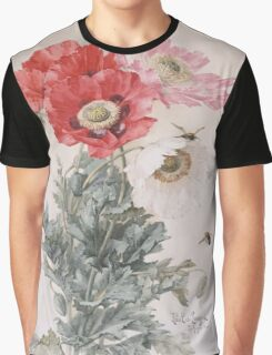 Paul De Longpre Poppies and Bees Graphic T-Shirt
