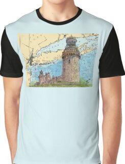 Navesink Twin Lighthouses NJ Nautical Chart Peek Graphic T-Shirt