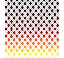 Digital Sunset Yellow, Black, Red and White Argyle Check Plaid Photographic Print