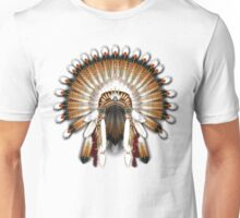 Native American War Bonnet in Gold and Red Unisex T-Shirt