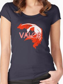 Stylized Team Valor Print Women's Fitted Scoop T-Shirt