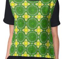 Yelllow Suns and Green Shells Chiffon Top