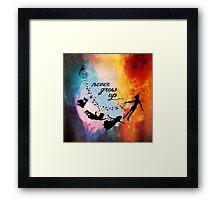 Nebula Never Grow Up Framed Print