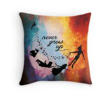 Nebula Never Grow Up Throw Pillow
