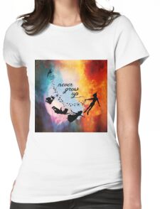 Nebula Never Grow Up Womens Fitted T-Shirt