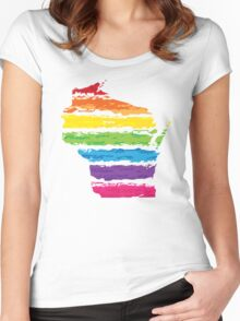wisconsin color strokes Women's Fitted Scoop T-Shirt