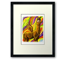 The Flying Llama Dude Framed Print