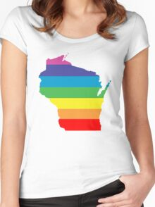 wisconsin rainbow Women's Fitted Scoop T-Shirt