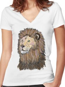 Abstract coloured lion line drawing Women's Fitted V-Neck T-Shirt